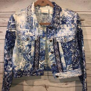 Chico's beaded jean jacket size 1